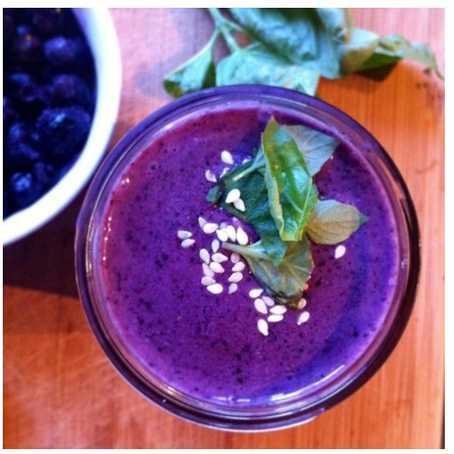 Blueberry-Basil Smoothie blend 1 cup blueberries + 1 small frozen banana + 1 cup fresh spinach + 6-7 fresh basil leaves + 2/3 cup skim milk (or nondairy milk subst) + 1 tablespoon ground flaxseed + 1 tbsp sesame seeds (or almonds) + dash of cinnamon