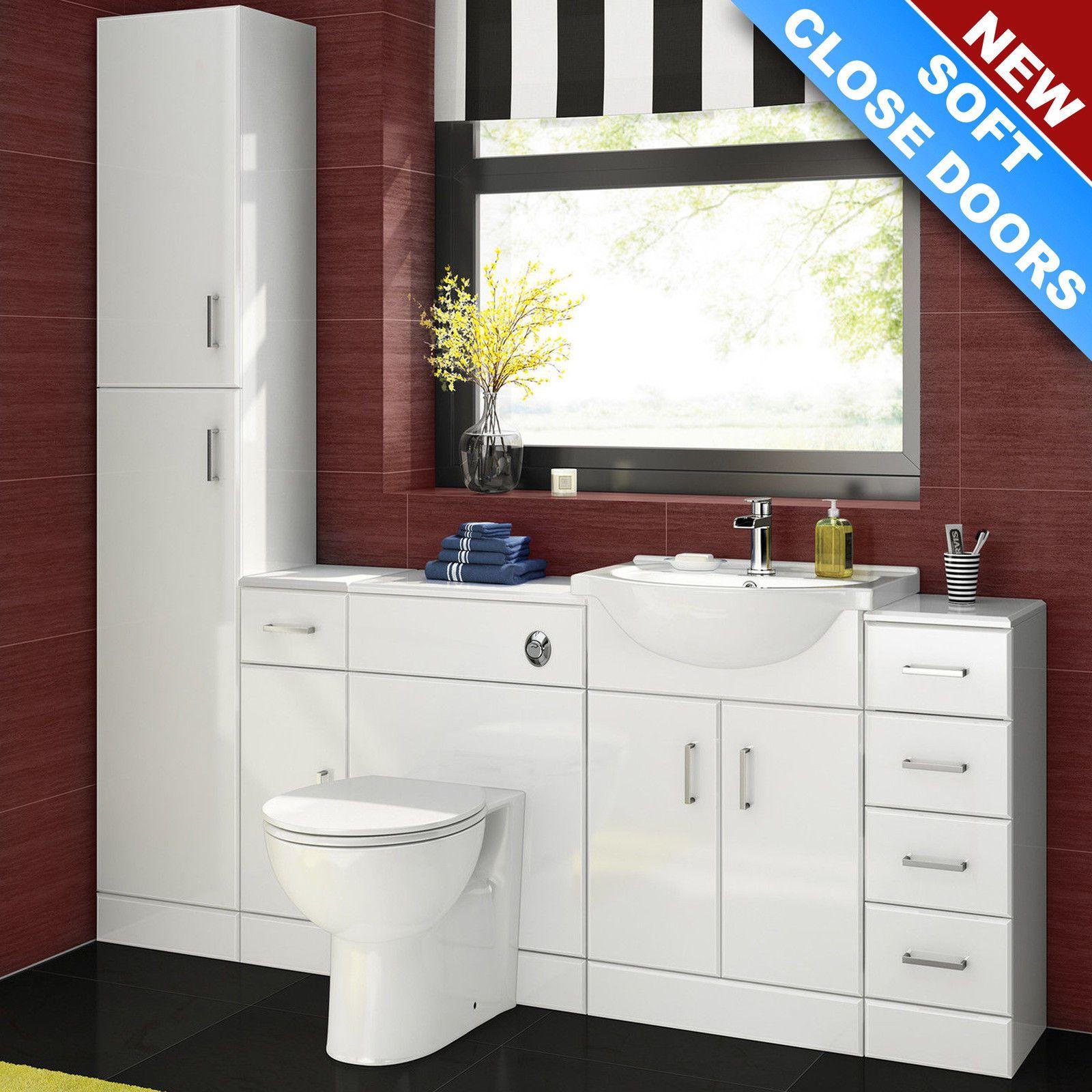 Complete Bathroom Suite | White Combination Storage Basin Vanity ...