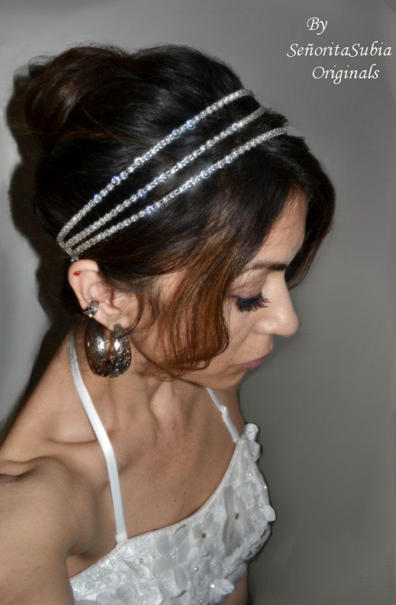 triple bridal rhinestone headband