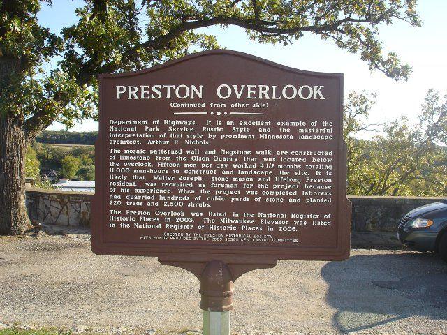 Side 2 Of The Marker At The Preston Minnesota Overlook On Us 52