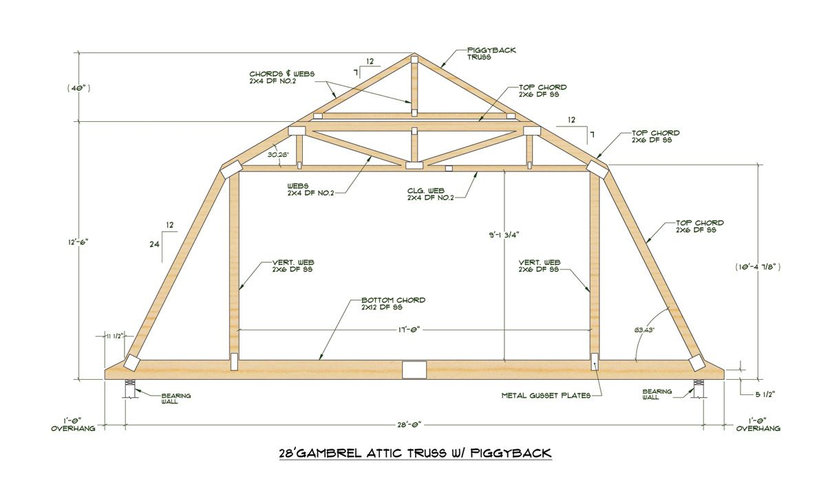 Gambrel attic truss design garage ideas pinterest for Gambrel pole barn plans