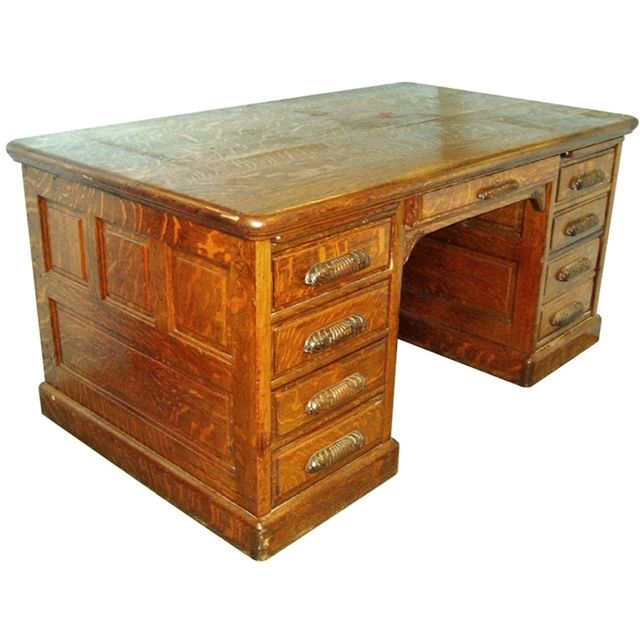 Fabulous 19th C. carved oak antique partners' desk. This desk has been  meticulously - Fabulous 19th C. Carved Oak Antique Partners' Desk. This Desk Has