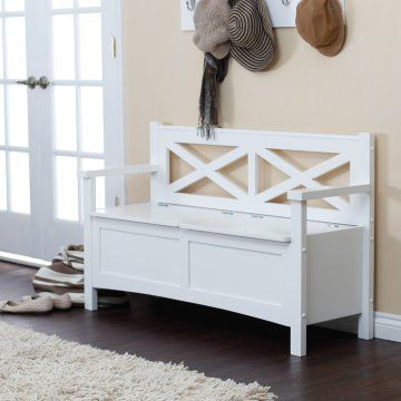 Cool Harper X Back Storage Bench White Indoor Benches At Evergreenethics Interior Chair Design Evergreenethicsorg