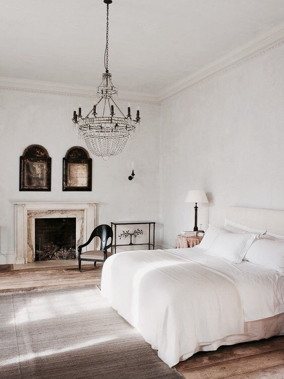 Classic White Bedroom With Chandelier  For The Home  Pinterest Stunning Bedroom Chandelier Decorating Inspiration