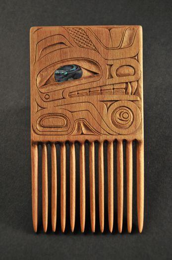 Robert Barratt, Northwest Coast carving. Comb. Carves in Nisga'a and Tlingit style art. Apprenticed under Nisga'a Master Carver Norman Tait and Norman's partner Lucinda Turner.