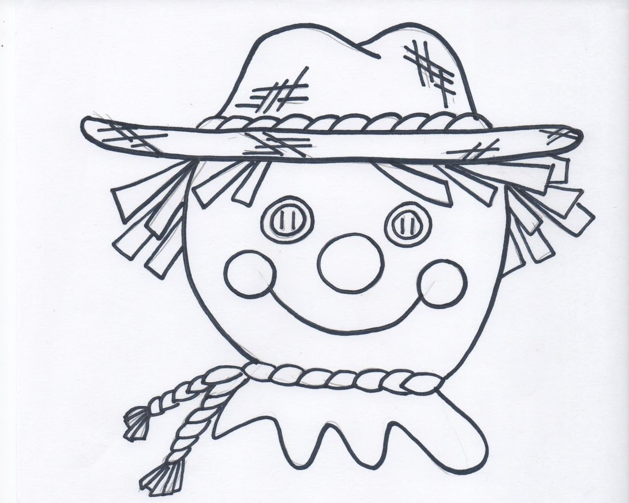 Printable Harvest Scarecrow Coloring Picture With Images Fall