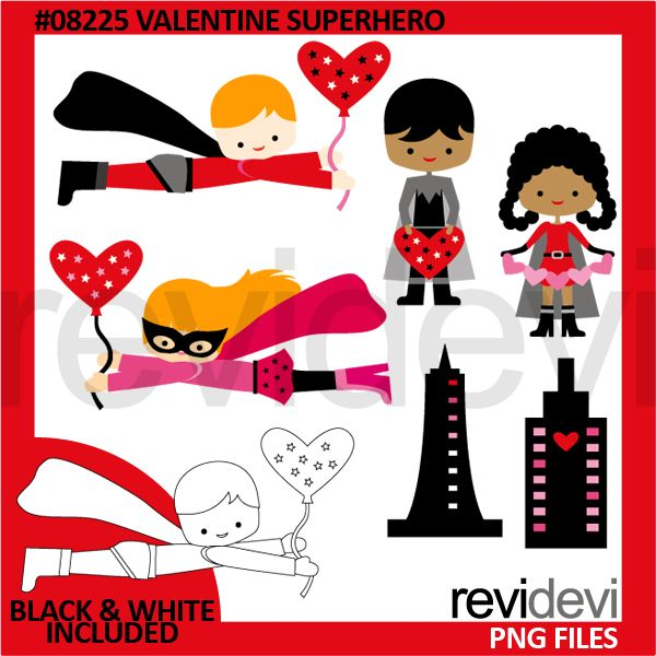 Valentine Superhero Kids Clipart Superhero Kids Kids Clipart How To Make Stickers