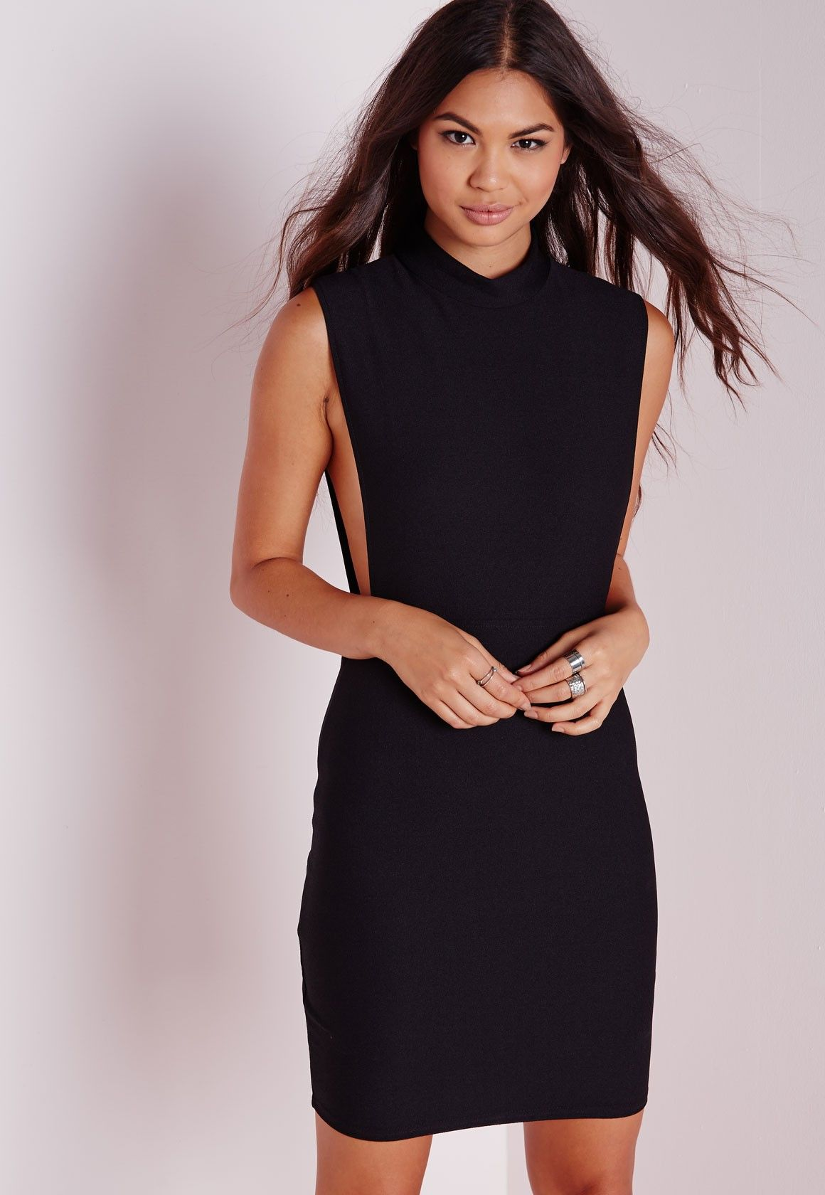 Missguided high neck cut out bodycon dress black fashion