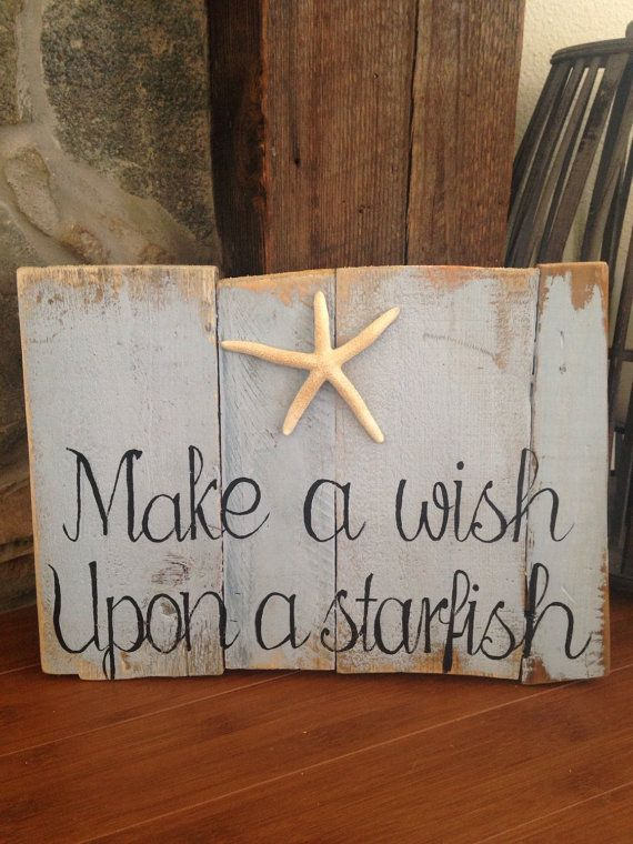 Make a Wish upon a Starfish Pallet Sign by TeedumTeedee on Etsy