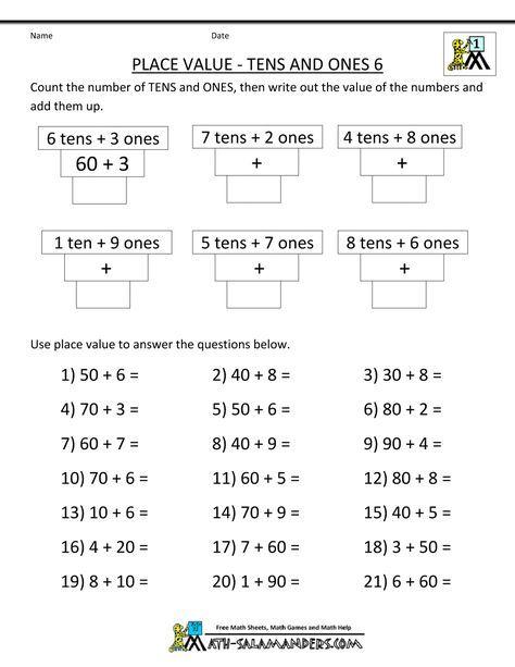 math worksheets printable place value tens ones 1000 1294 maths math worksheets. Black Bedroom Furniture Sets. Home Design Ideas