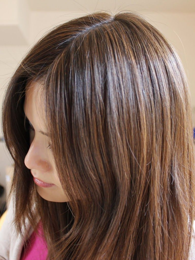Aveda brown highlights on black hair roots. Probably a more ...