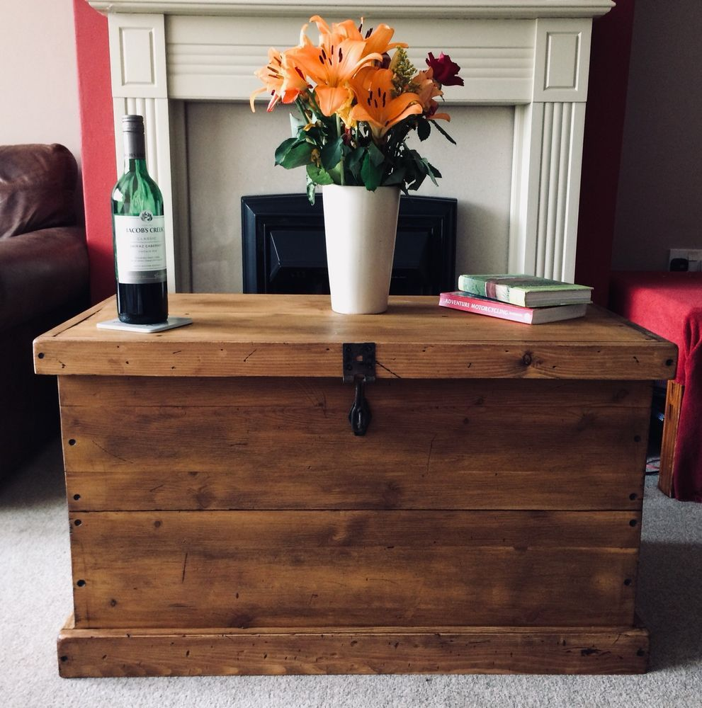 Wooden Chest Ottoman Coffee Table Pine Storage Box Rustic