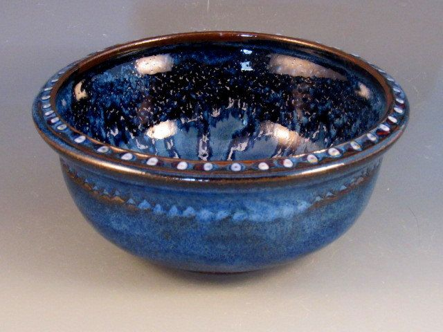 Lovely Blue Bowl With Slip Dots, Trailed Glazes, Traces Of Red On Rim, Ready To Ship by potmaker on Etsy