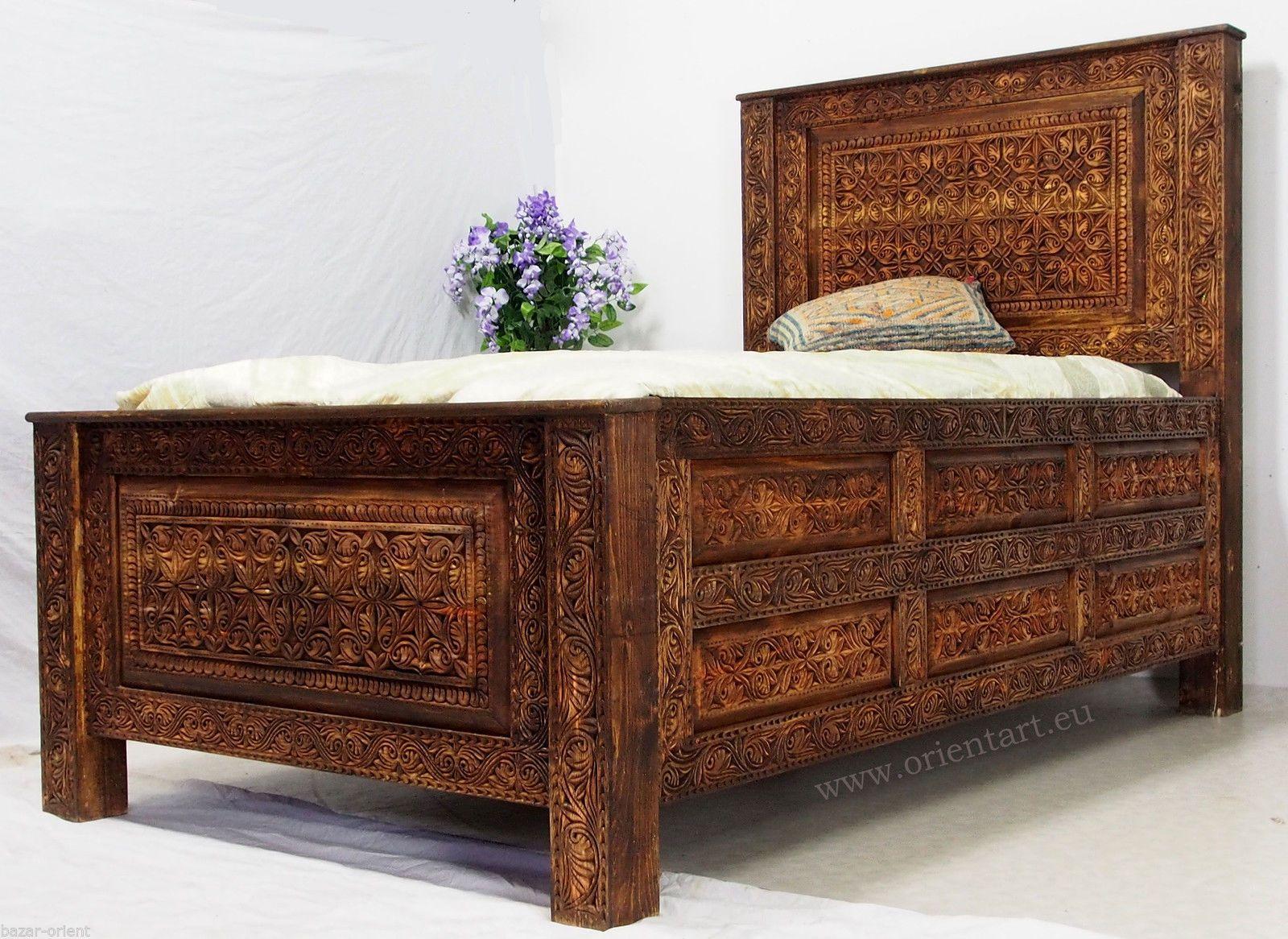 Betten Kolonialstil 200x120 cm antik look massivhloz bett kolonialstil mit geheimfach