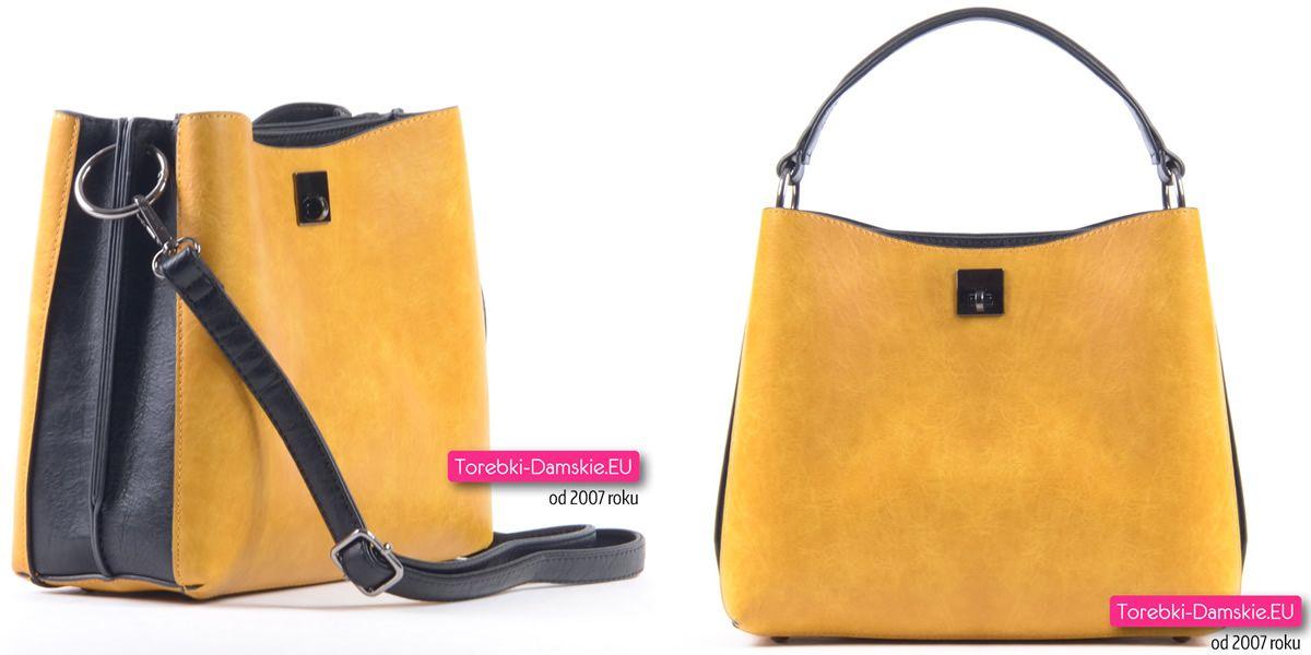 Żółto czarna torebka damska trójkomorowa | Tote, Tote
