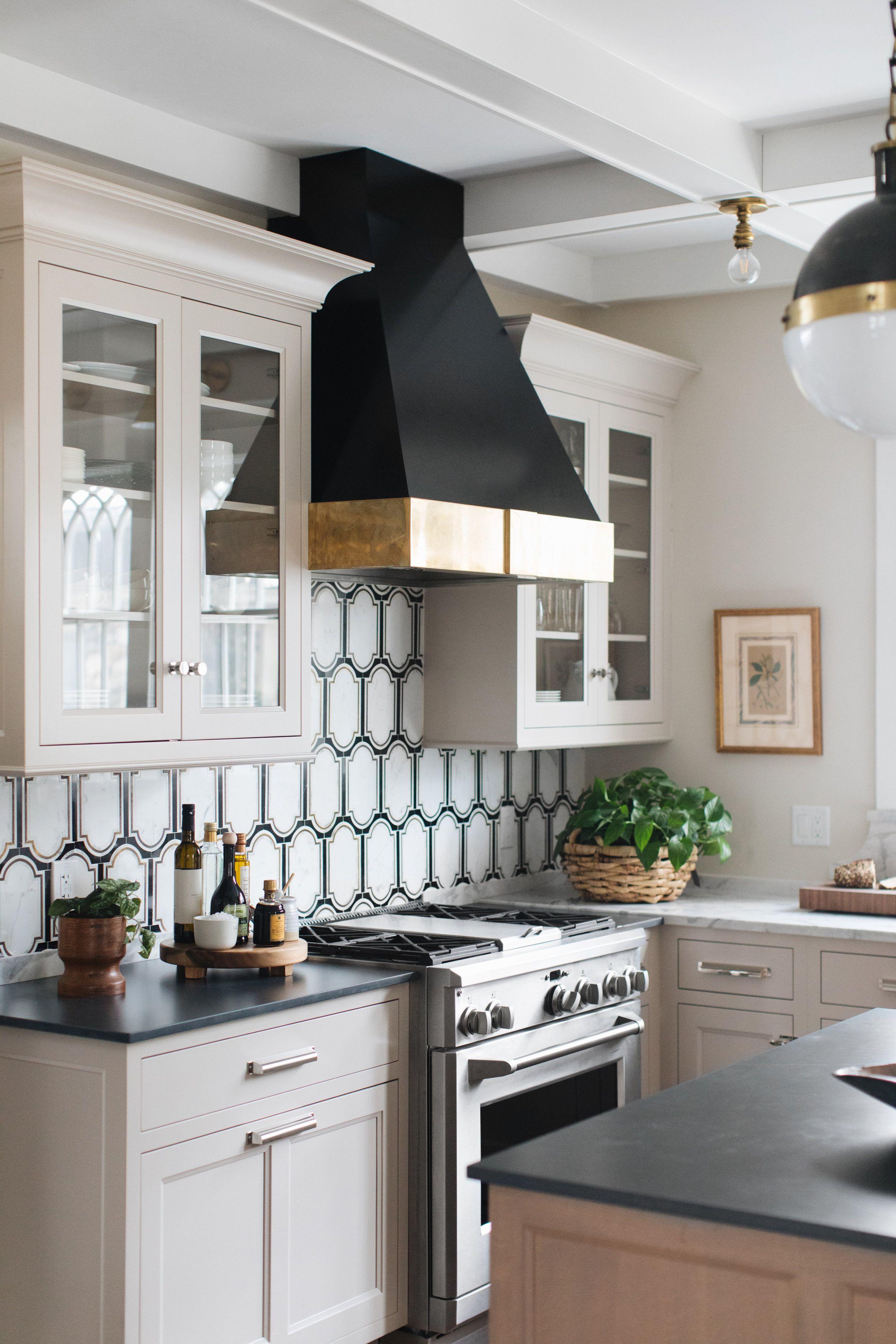 Jean Stoffer Design Taupe Kitchen Glass Fronted Kitchen Cabinets New Kitchen Cabinets