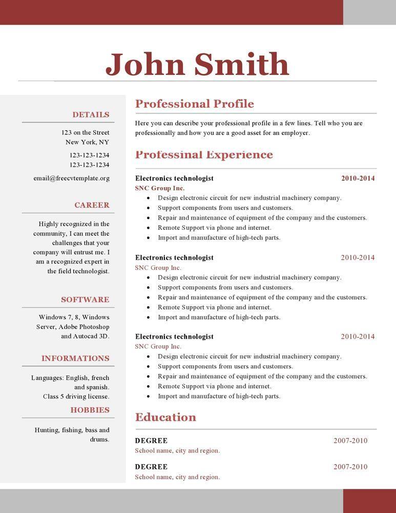 Free Resume Templates 1 Page freeresumetemplates resume