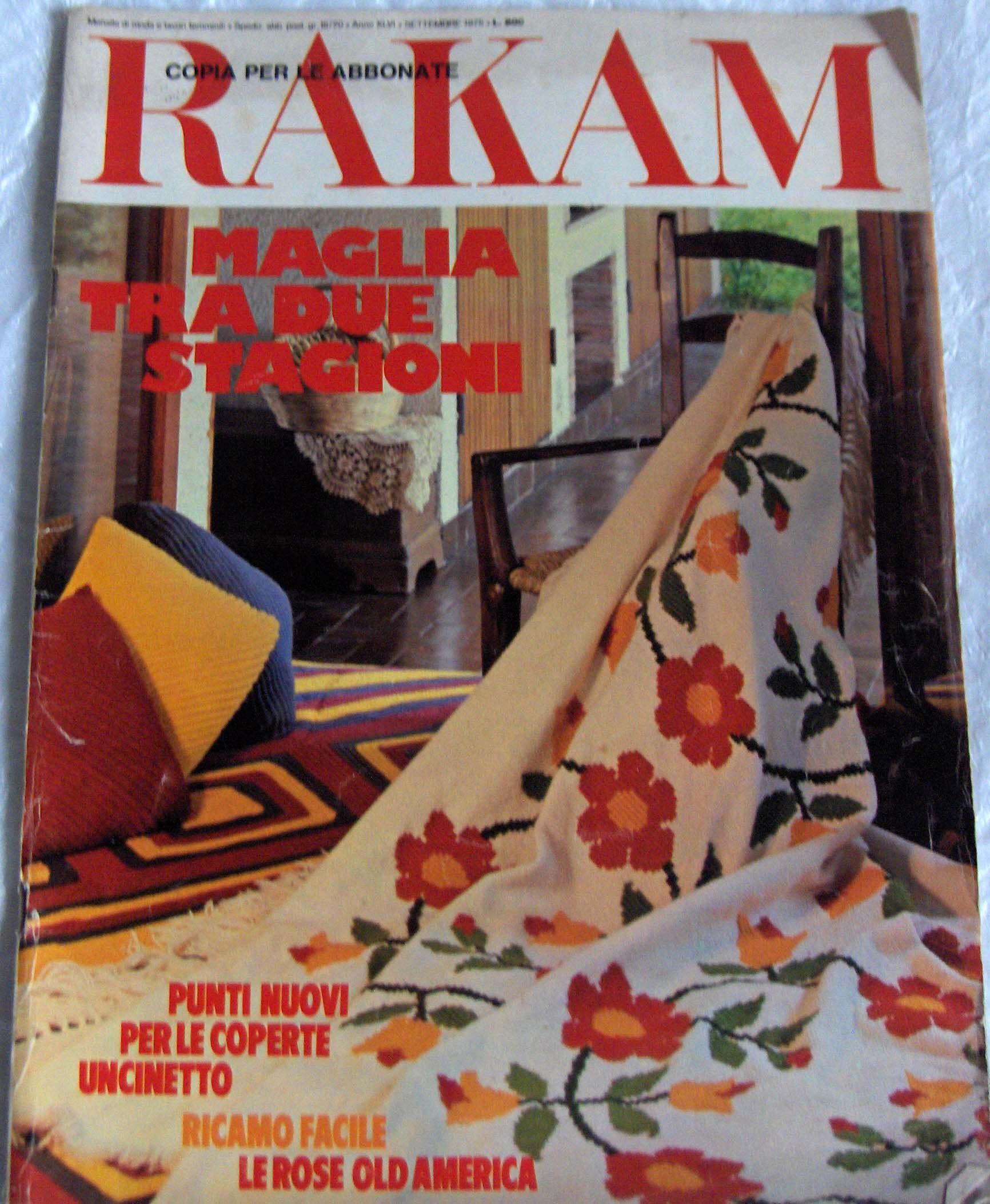Rivista Vintage Rakam Settembre 1975 Su Maglia Ricamo Idee Moda Autunno E Per Decorare La Casa Fashion Magazine Childrens Clothes Childrens