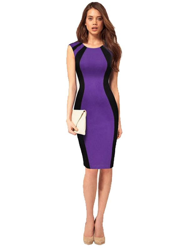 Splicing Color Hot Sale Sleeveless Bodycon Dress   My Style   Pinterest
