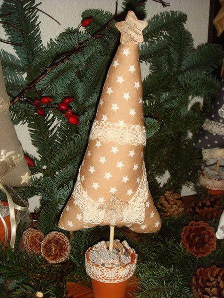 Weihnachtsdeko Weihnachtsbaum Beige Weiss Aus Stoff Ein