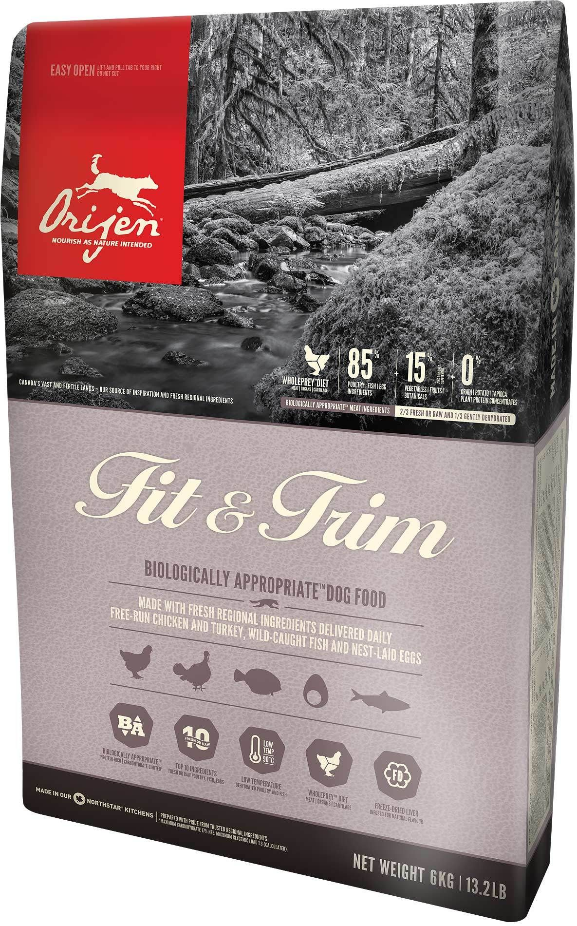 Orijen Fit & Trim Dry Dog Food menubarf rawfeddog