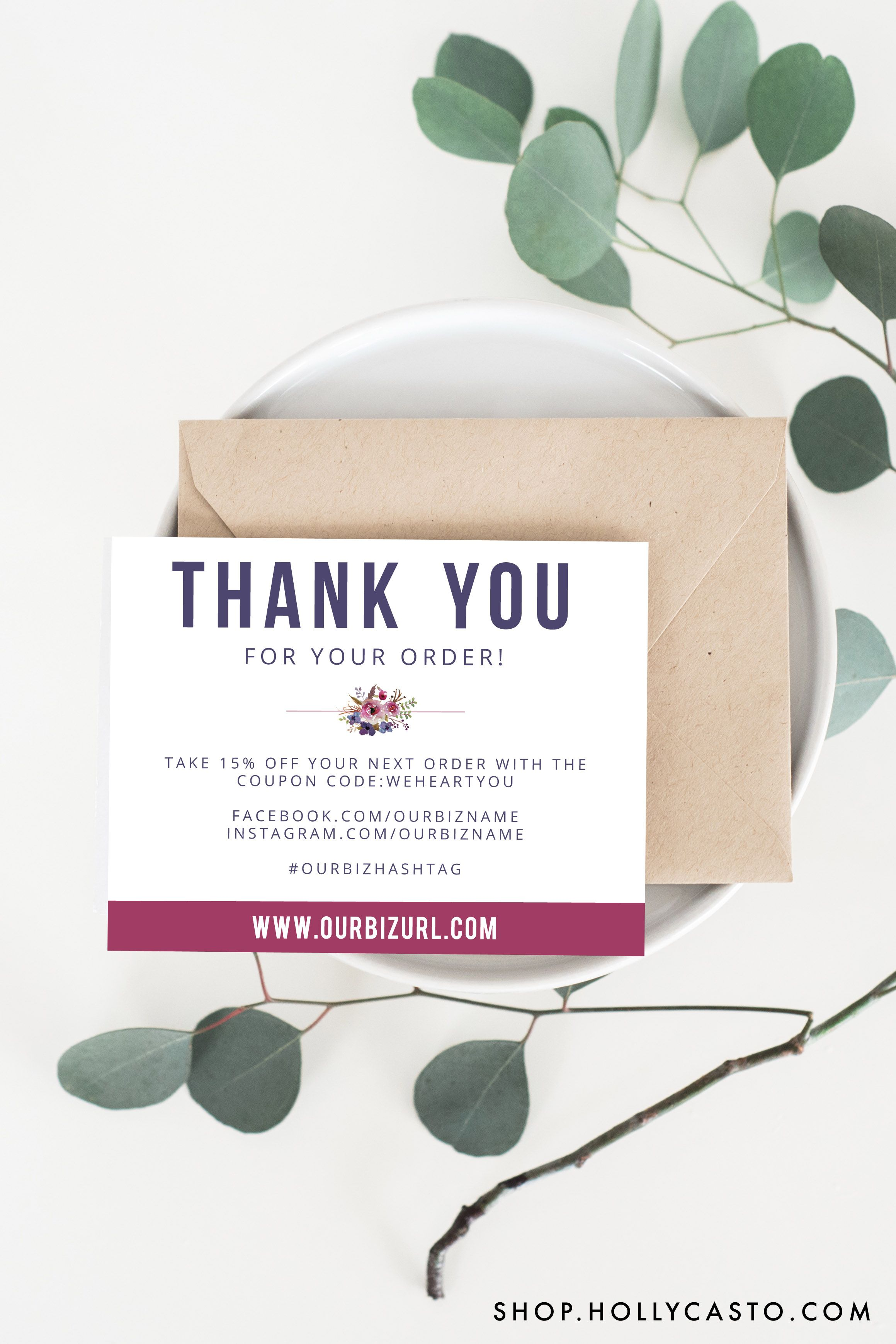 modern floral business packaging thank you cards for online shops ...