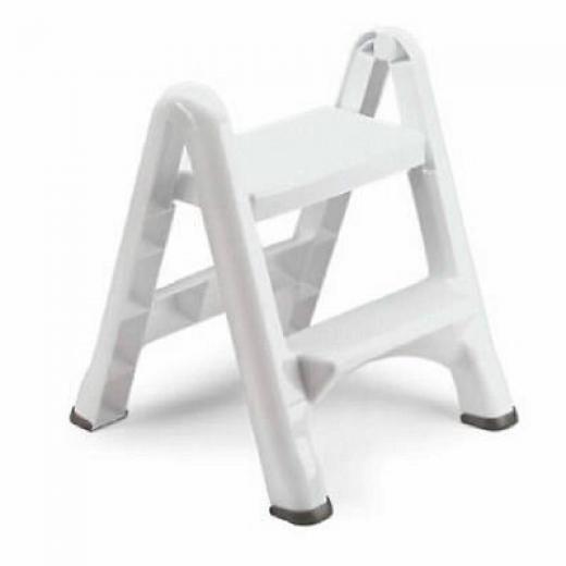 Rubbermaid White Folding 2 Step Stool 4209 03 Wht Plastic
