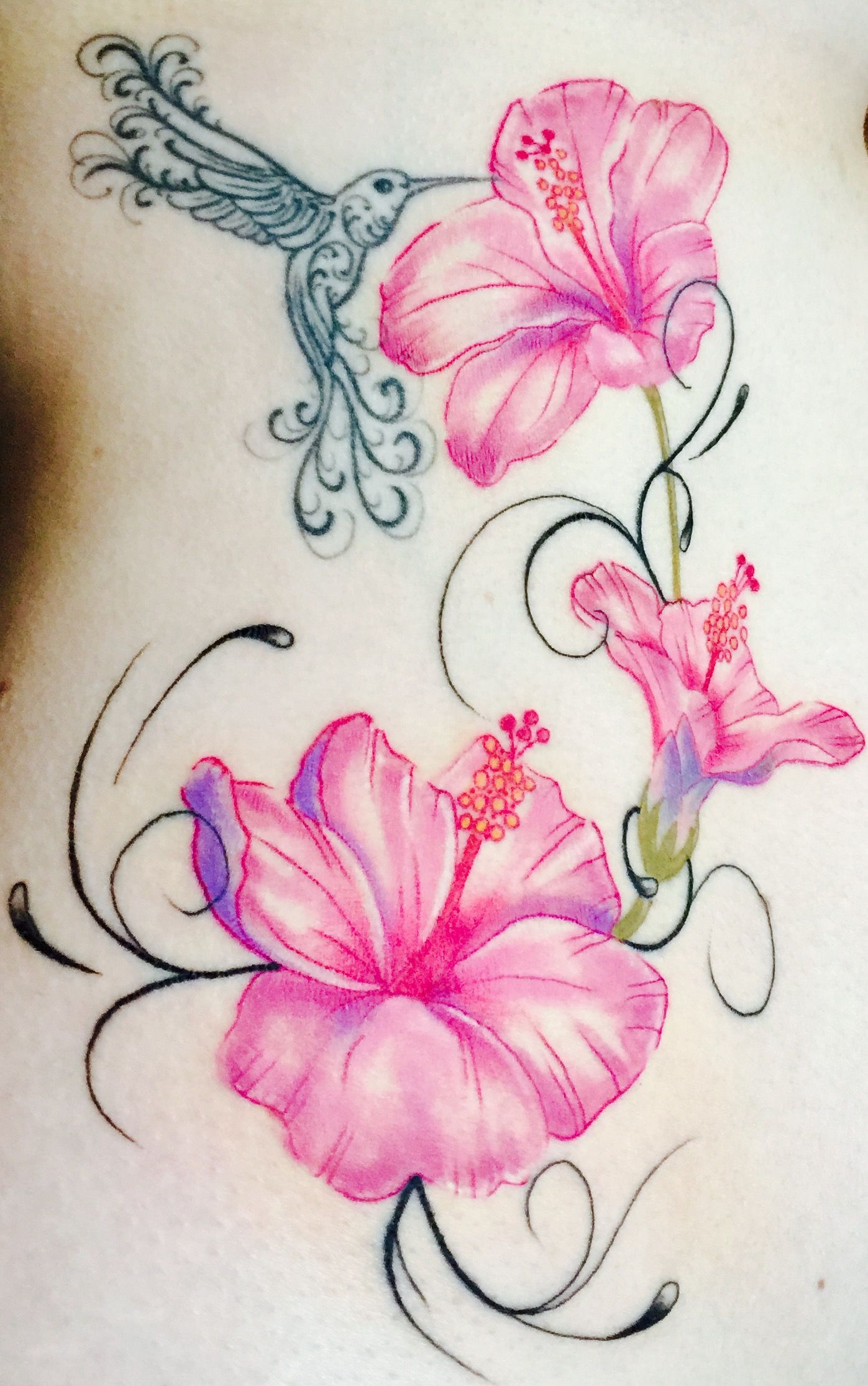 Hummingbird And Hibiscus Flower Tattoo Girlietstattoo Tattoos