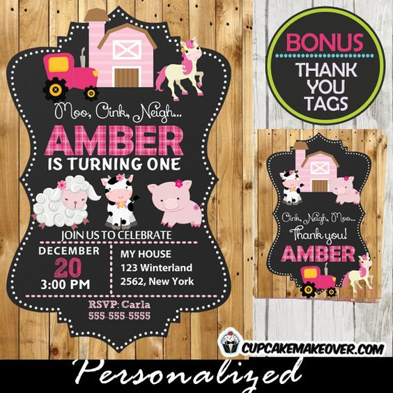 girl barnyard first birthday invitation barn wood personalized d8