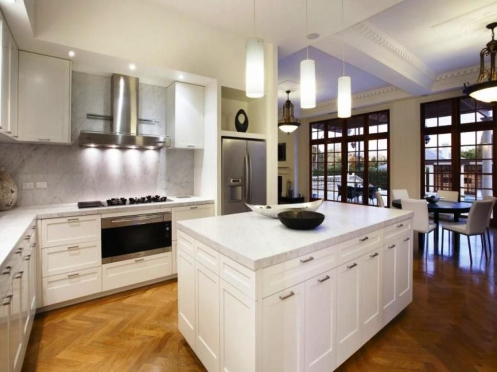 furniture:comely white kitchen with glass pendant lighting mixed