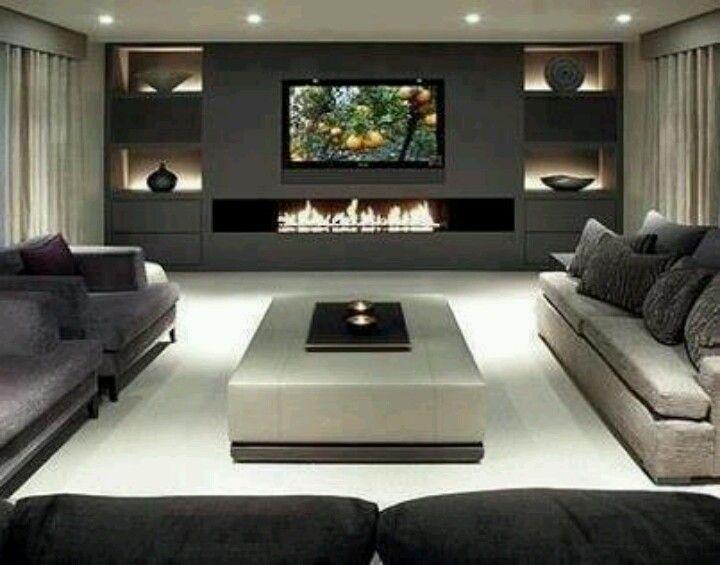 sala de tv cinza grafite e branco