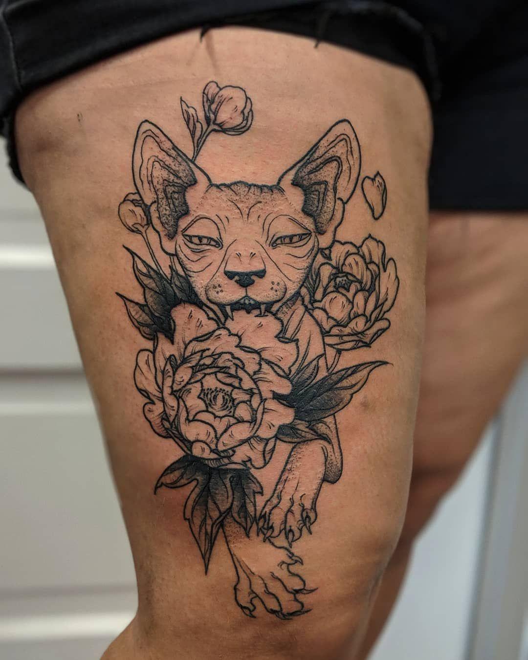 Sphinx Cat With Flowers Tattoo Cat Tattoo Tattoos Flower Tattoos