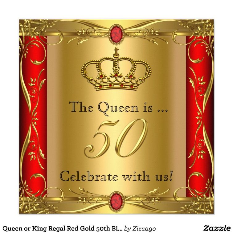 Queen Or King Regal Red Gold 50th Birthday Party Card
