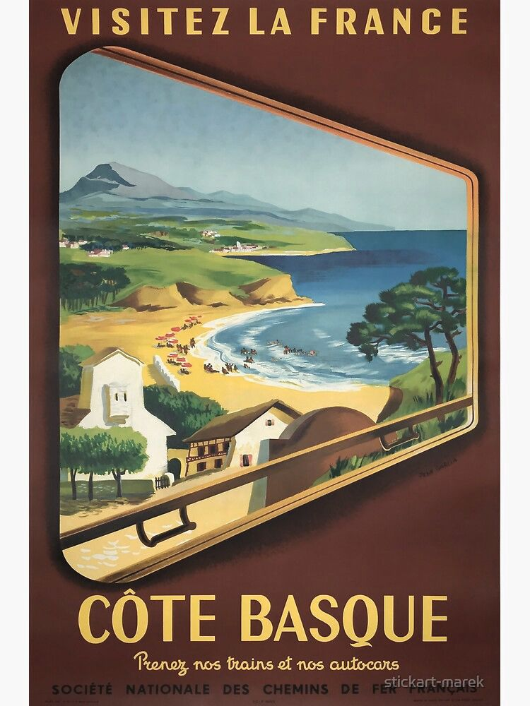Cote Basque Vintage Travel Poster Poster By Stickart Marek In 2021 Travel Posters Vintage Travel France Travel