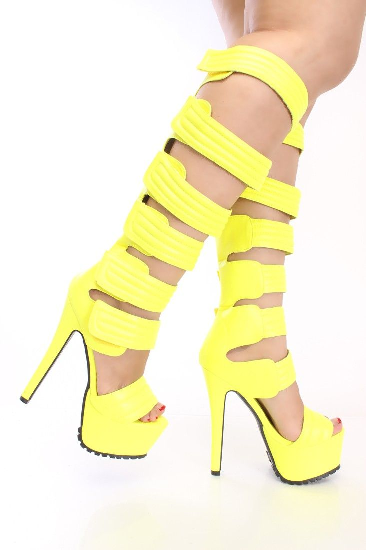 ede224cdb51 Neon Yellow Strappy Platform High Heels Faux Leather