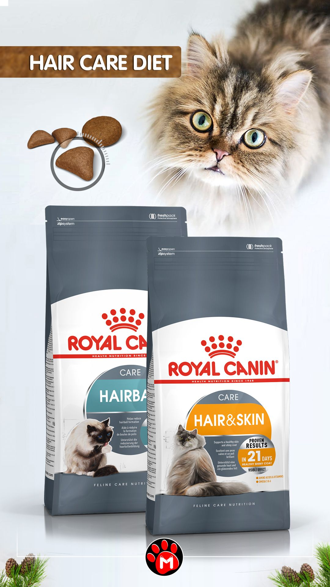 Hair Care Diet For Cats With Royal Canin In 2020 Hair Care Diet Dry Cat Food Royal Canin