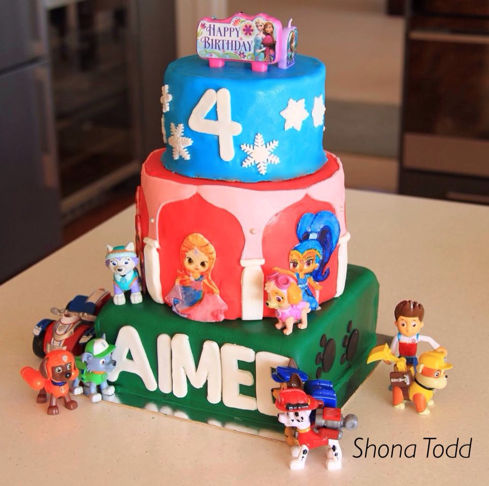 Aimees FrozenShimmer and ShinePaw Patrol themed birthday cake