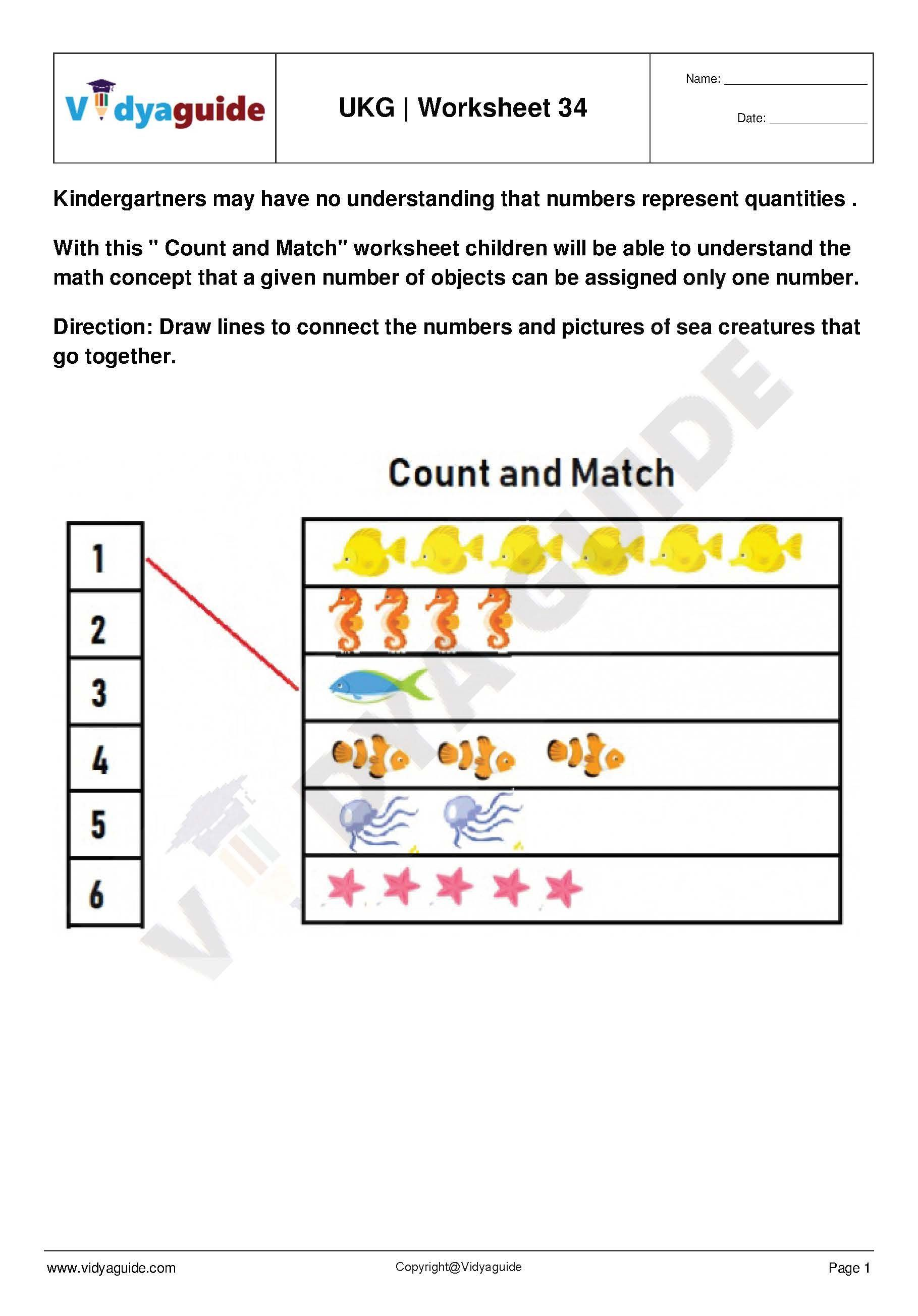 Download free kindergarten (UKG) printable worksheets from