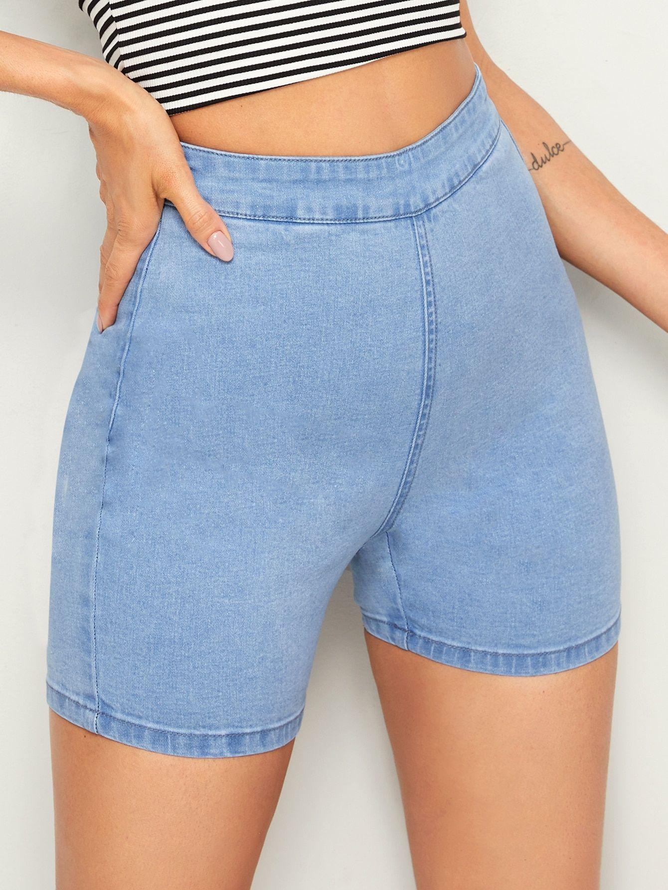 Ad Zip Back High Waist Skinny Denim Shorts Tags Zipper Fly Blue Pastel Zipper Fabric Is Very Stretchy Skin Skinny Denim High Waist Skinny Denim Fashion