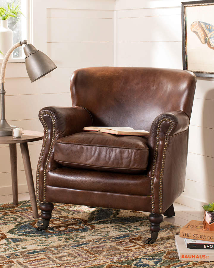 Safavieh Manchester Leather Arm Chair Small Leather Chairs