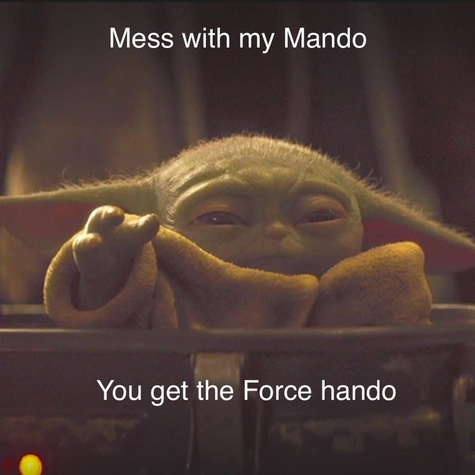 Pin By Rebecca Gardner On Baby Yoda And That Tin Can Man Star Wars Memes Funny Star Wars Memes Star Wars Humor