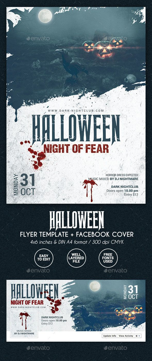 Halloween Party Flyer 2 formats — PSD Template #haunted #creepy ...
