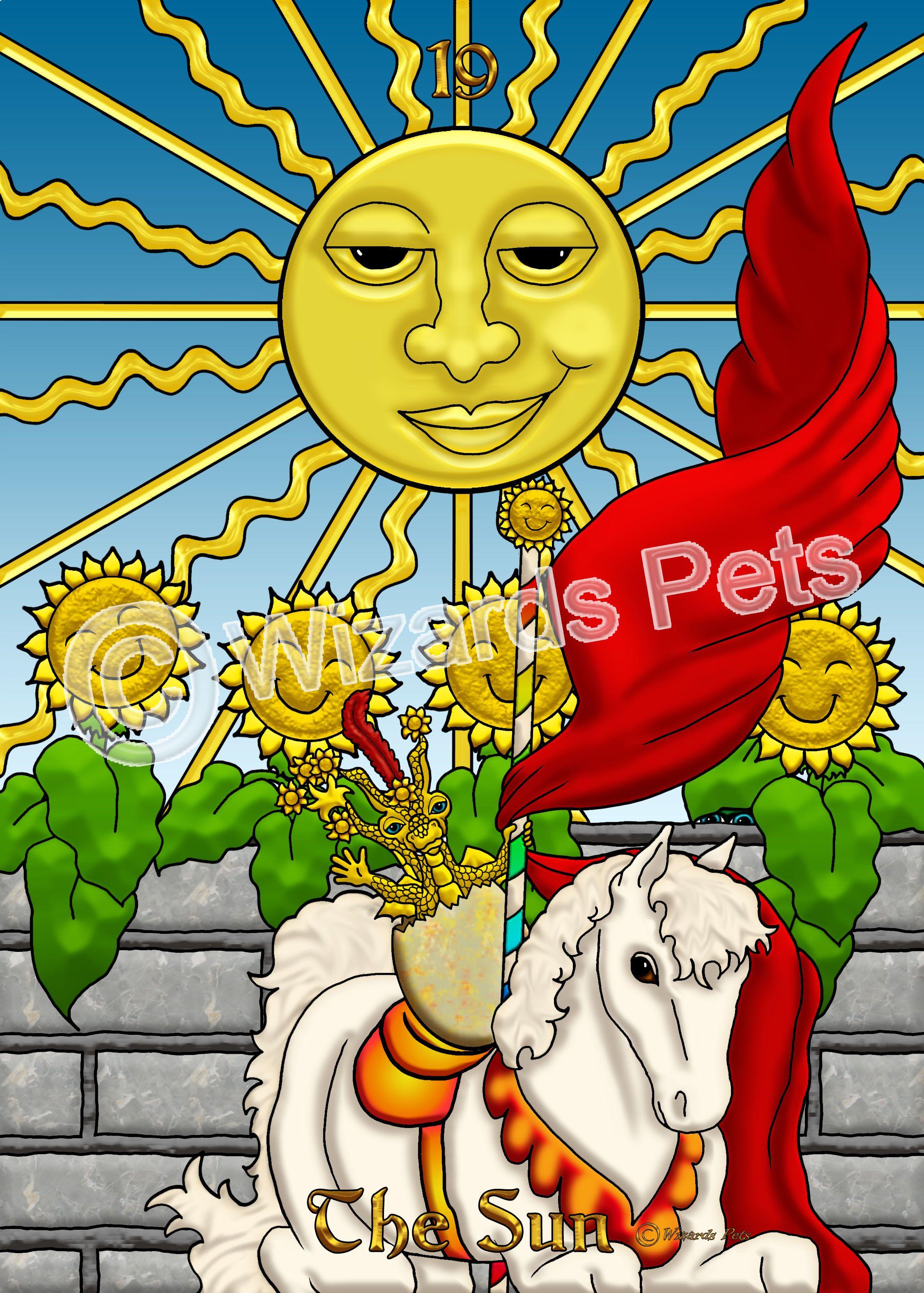 The Sun From The Wizard S Pets Tarot Tarot Major Arcana Tarot Oracle Tarot