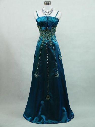 Cherlone Plus Size Satin Dark Blue Sparkle Ball Gown Wedding/Evening ...