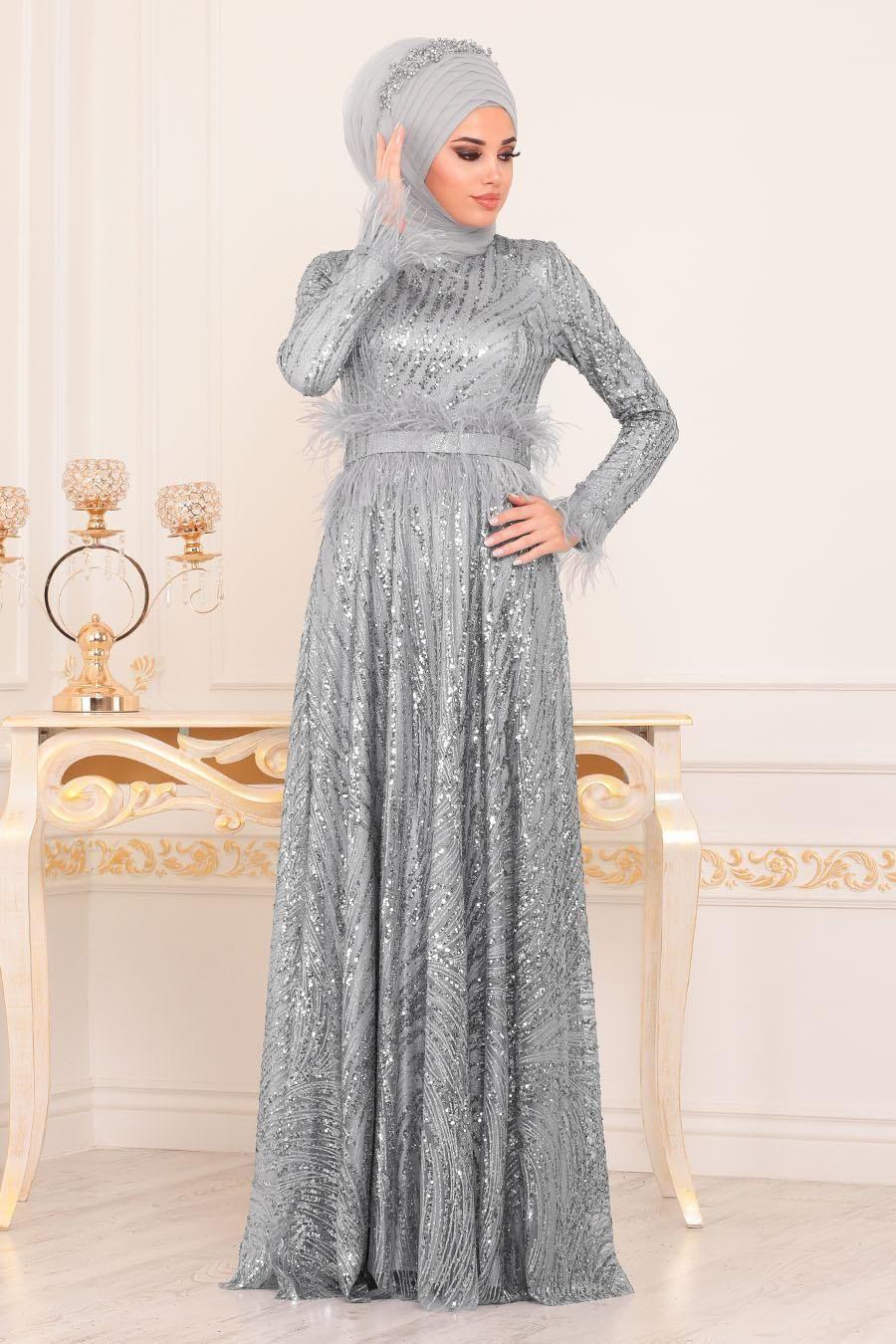 Tesetturlu Abiye Elbise Otrisli Pul Payetli Gri Tesetturlu Abiye Elbise 21090gr Musluman Elbisesi Elbise Pakistan Kiyafetleri