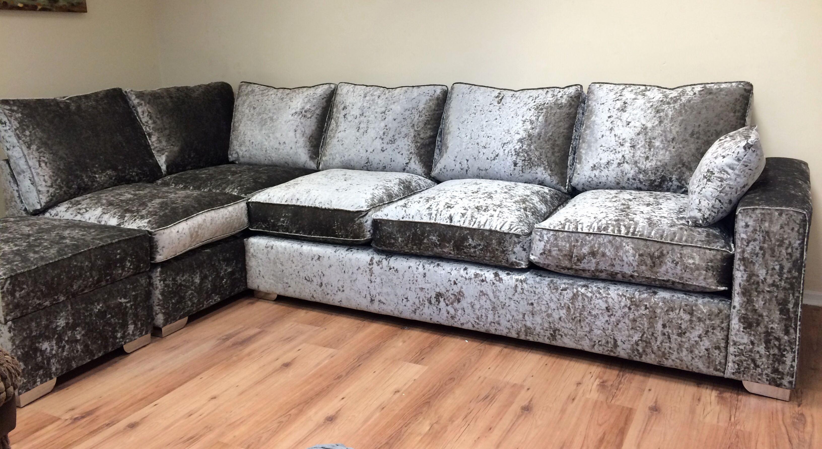 Luxury Crushed Velvet Corner Sofa Pics Crushed Velvet Corner Sofa  # Muebles La Moheda