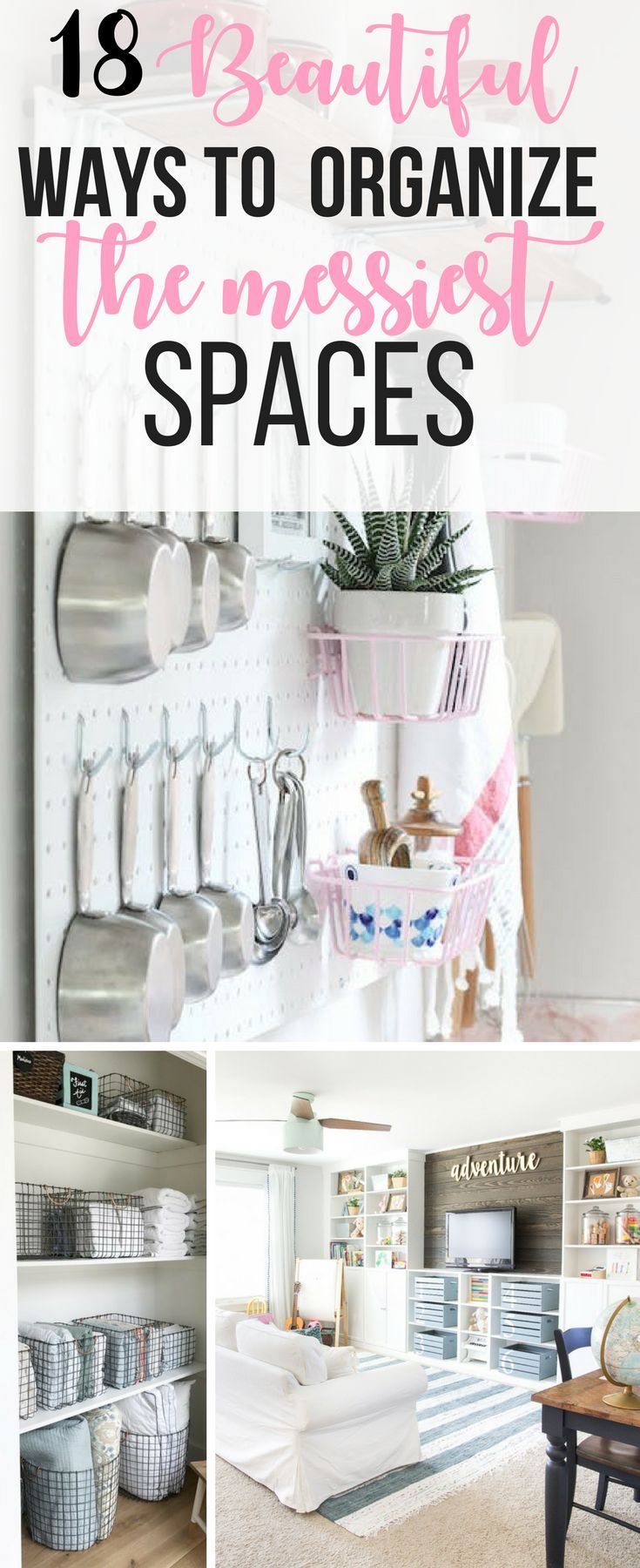 18 Beautiful Ways To Organize The Messiest Spaces | Organizations ...