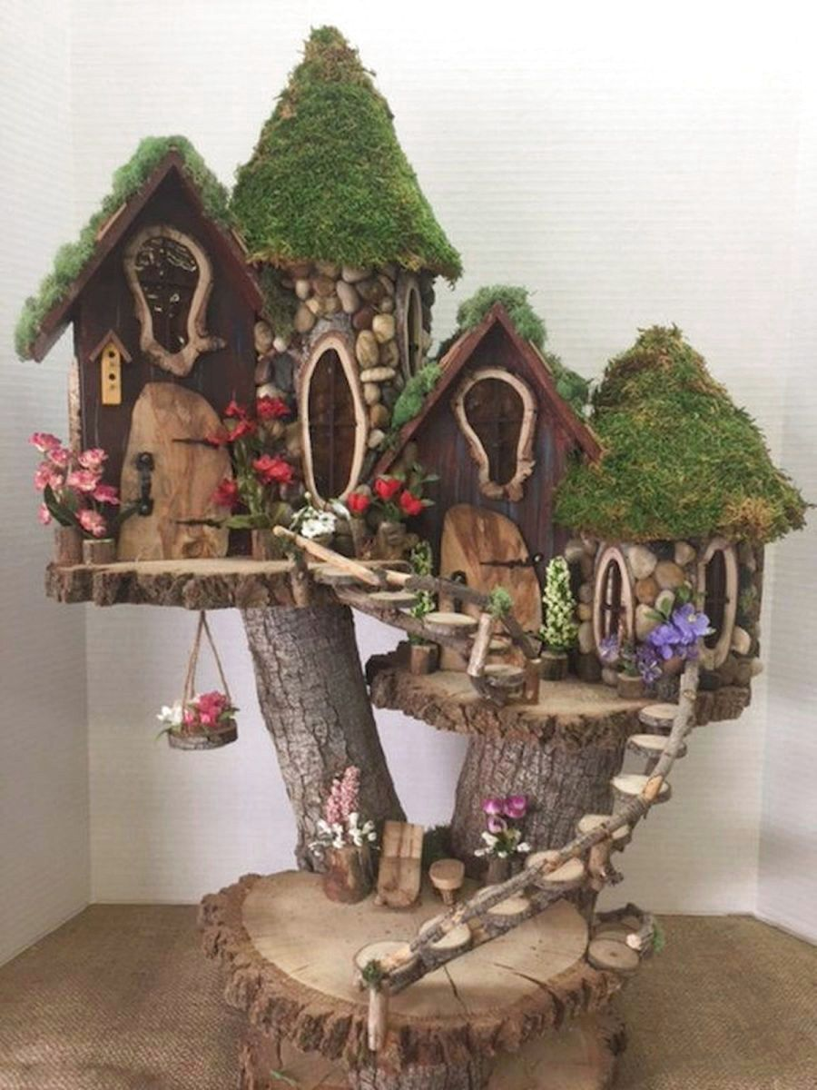 43 Favourite Indoor Fairy Garden Ideas - Fairy garden designs, Fairy garden diy, Indoor fairy gardens, Fairy tree houses, Fairy garden houses, Garden tree house - There are many creatures and outdoor plants to make children interested in playing in nature  The next time you get out on the page, you might want to try some mystical creatures with your own garden fairy  Usually includes several… Continue Reading →