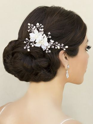 Delicate flower hair comb has small silk flowers accented with hand delicate flower hair comb has small silk flowers accented with hand beaded vines of freshwater pearls mightylinksfo