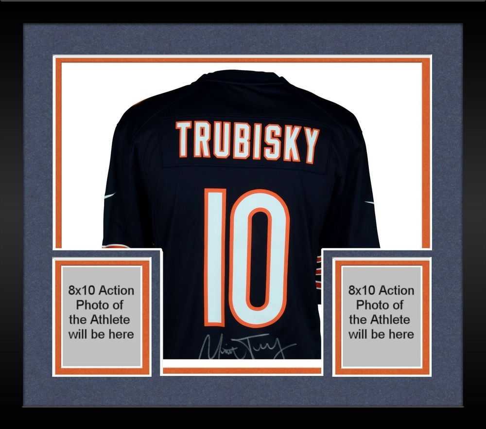 reputable site 28bac fa651 Framed Mitchell Trubisky Chicago Bears Autographed Nike Navy ...